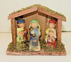 Vintage Minature Childrens Nativity Scene Wooden Structure Porcelain Figures