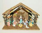 Vintage Holiday Christmas Nativity Scene Wooden Structure Ceramic Figures