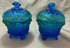 Pair of Jeanette Footed Glass Candy Dishes With Lid Harvest Grape Blue Green