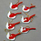 Christmas Ornament Glass Animal Bird DOVE Small 3 RED Wings 1970s USA SELLER