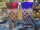 Red  Blue Czech Cut Crystal Cordial Glasses