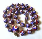 Vintage Millefiori Glass Bead Necklace Red White Blue Hand Knotted 17 Long
