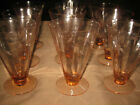 Set of 9 Pink Depression Glass Etched Footed Tumblers 5 1 4
