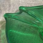 Murano Emerald Green Art Glass Bowl Leaf Hand Worked