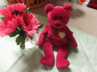 RETIRED Ty Beanie Baby VALENTINA Bear Pink With Bow and White Heart  1999