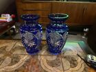 Pair of Czech Bohemian Cobalt Blue Overlay Cut to Clear Large Vases