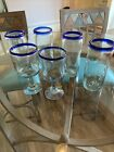 Hand Blown Set Of Glasses Mexican Bubble Glass With Cobalt Blue Rims