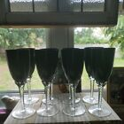 12 Vintage EBONY GLASS With Clear Twisted Stem 8 Tall RARE