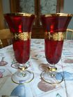 Set of 2 Interglass Italy Crystal Glasses Ruby Red Italian Wine Goblets