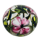 Richard Olma Studio Art Glass Pink Green Floral Paperweight Signed Dated 1991