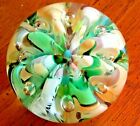 Maude  Bob St Clair Glass Paperweight Green Blue Yellow Ribbons Bubble 1978 2lb