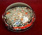 Vintage Millefiori Glass Paperweight Blue Red White Black Not Signed
