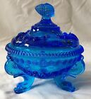 Vintage Westmoreland Cobalt Blue Glass Argonaut Sea Shell Footed Candy Dish Lid