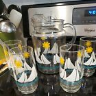 Vtg Sailboats Sunshine and Blue Waves Glass Pitcher with Ice Lip with 4 glasses