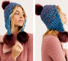 NWT Free People Chunky Knit Snow Castle Trapper Pom Poms Hat Beanie One Size