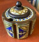 RARE Gouda ART NOUVEAU Antique Inkwell Pottery Glass Insert Signed on bottom