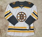 New Mens 52 Large NHL Authentic Stitched Jersey White Black Boston Bruins CA7069