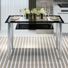 Glass Dining Table Kitchen Dinette Metal Leg Home Decoration Furniture Clear US