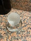 Val St Lambert VSL Crystal Frosted Glass Golf Ball on Clear Base Paperweight