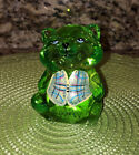FENTON RACCOON KEY LIME GREEN HAND PAINTED VEST QVC SIGNED SMITH LOGO HTF