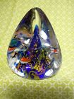Art Glass Paperweight Undersea Waves Fish Bubbles Triangular Blue and Clear