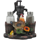 Farm Chicken and Old Fashioned Water Pump Glass Salt and Pepper Shaker Set with