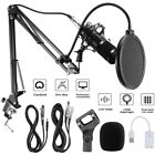 USB Condenser Microphone w Arm Stand For Game Chat Audio Recording Computer