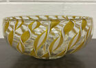 Murano Beautiful Twisted Gold White Ribbon Glass Bowl