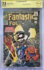 FANTASTIC FOUR 52 FIRST BLACK PANTHER 75 VF CBCS YELLOW LABEL SIGNED STAN LEE