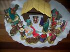 VINTAGE CHALKWARE NATIVITY SET OF 20 HAND Painted SET
