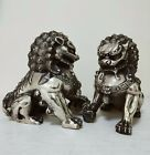 63inch Big Tibet silver Fu Foo Dog Guardian lion argent lucky Statue Pair