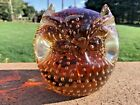 HANDMADE OWL PAPERWEIGHT MURANO CONTROLLED BUBBLE