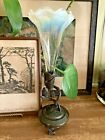 Vintage Norwich Ruffled Glass Epergne Vase On Metal Stand With Leaves 85
