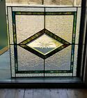 ANTIQUE STAINED GLASS WINDOW BEVELED ETCHED CENTERPIECE COAL REGION PA 1930s