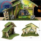 BANBERRY DESIGNS Wooden Nativity Stable Large Creche Measuring 8 1 2 Tall M