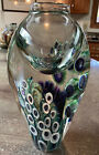 Signed David Lotton Studio Art Glass Large Hollyhock Floral Vase 115  157 lb