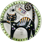 Lori Siebert For Silvestri Glass Fusion 12 inch Round Halloween Cat Plate NEW