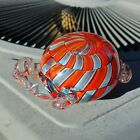 WOW Hand Blown Art Glass Red Blue Turtle Tortoise Decorative Paperweight