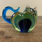 Unique Vintage Murano Style Art Glass Cat Figurine Green Yellow Blue 55 Tall