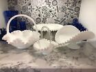 VINTAGE FENTON WHITE MILK GLASS PEDESTAL CAKE STAND BANANA BOWL TWO BASKETS