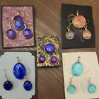 Beautiful Dichroic Fused Glass Purple Pendant and Earrings Set NWOT Signed CW