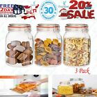 Encheng 50 oz Glass Jars With Airtight Lids And Leak Proof Rubber GasketLarge