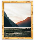 16x36 Gold Bamboo Wood Picture Frame With Acrylic Front and Foam Board Backing
