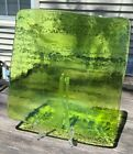 Hand Crafted Large Apple Green Square Recycled Art Glass Platter