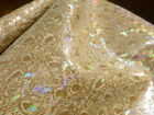 Pigskin leather suede hide XL Rainbow Holographic Ostrich Print on Honey Gold