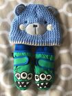 Baby Boy Hat And Mittens Age 3-6 Months Nutmeg And Thinsulate Mittens From M&S