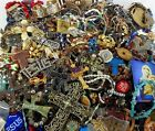 Huge Vintage Now Lot Mixed Catholic Medals Religious Rosaries Crosses Jewelry 12