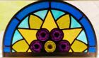 ANTIQUE STAINED LEADED GLASS WINDOW REPURPOSED AS SUNCATCHER LATE 1800s DELAWARE