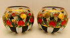 MacKenzie Childs Heirloom Glass Rose Bowls Two 2
