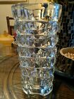 THICK Vintage Glass Vase MCM Geometric FRANCE Mid Century Ice Cube Square